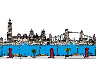 London city sketch cartoon