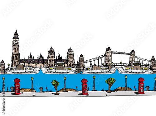 London city sketch cartoon