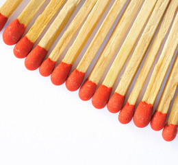 Group of matches on white.