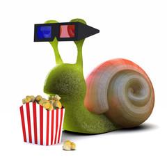 3d Snail enjoys popcorn at the 3d movie
