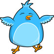 Cute Happy Blue Bird Vector Illustration