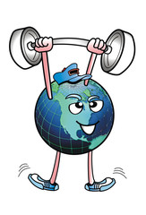 Planet Earth Man Lifting Weights.