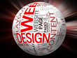 3D WEBDESIGN WORDS GLOBE & RED BLUR - Website Concepts
