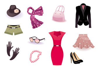 Vector set of clothes and accessories for Women