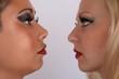 profile feminine face with make up