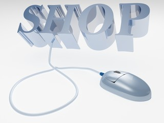 on-line internet shop concept text with computer mouse