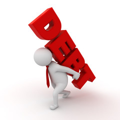3d man carrying word debt on his back