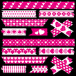 Tape Set Different Hearts Pink/White