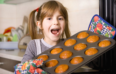 happy young girl baking
