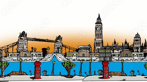 London city travelling cartoon drawing sketch animation