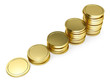 pile of golden coin as stairs 3d-illustration isolated on