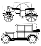 set of silhouettes of old cars - vector