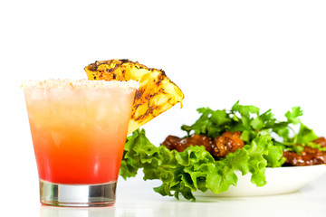 Barbecue Chicken Wings and a Tropical Cocktail