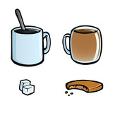 Icon set of coffee and tea