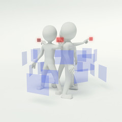 3d people working in the group