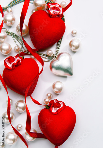 Art Design a greeting card with love heart Happy Valentine Day