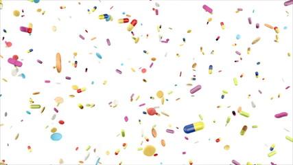 verschiedene Pillen und Tabletten fallen vor weißem Hintergrund