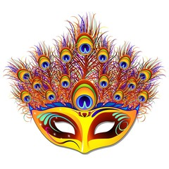 Maschera Piume Pavone-Peacock Feathers Mask-Vector