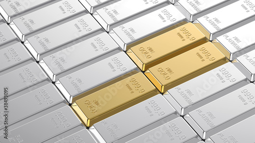 Gold and platinum ingots.