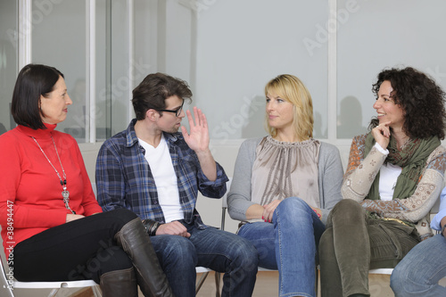 Leinwanddruck Bild support group or team building seminar