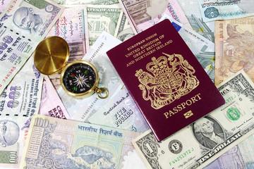 Passport , Compass and Various Currencies