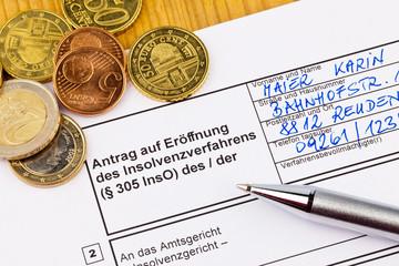 Konkurs Antrag Personen Deutschland