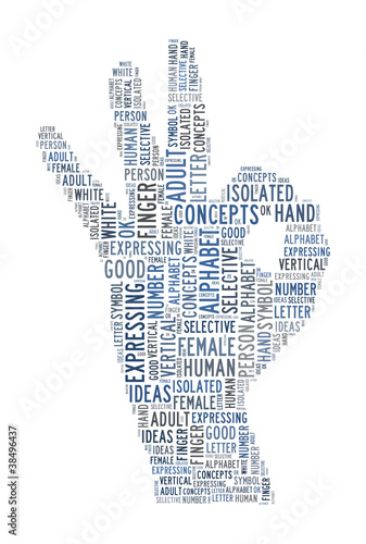 hand sign text concept