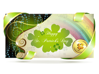 Banner with clover and coin for St. Patrick's Day