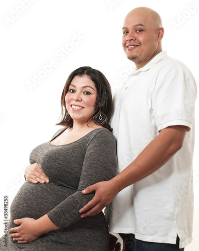 Cute latin american pregrant couple