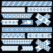 Tape Set Different Hearts Blue/White