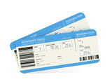 Fototapety Two airline boarding pass tickets isolated on white