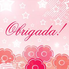 Cartão feminino de agradecimento com a palavra obrigada
