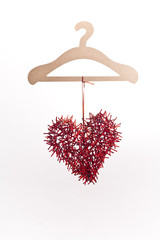 Creative Red heart on a hanger