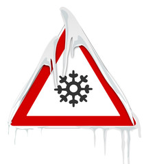 Verkehrsschild mit Schnee