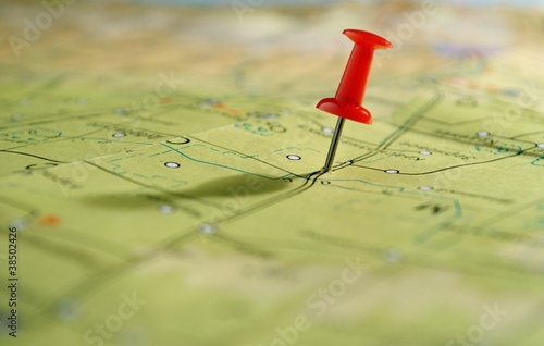 map and pushpin - 38502426