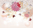cartolina romantica con fiori e farfalle