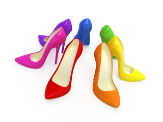 Colorful high heel shoes