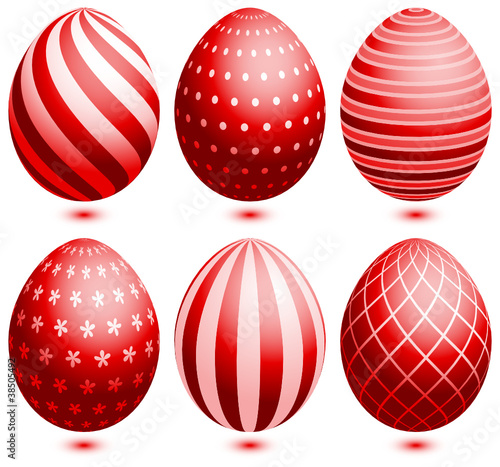 6 Easter Eggs Red