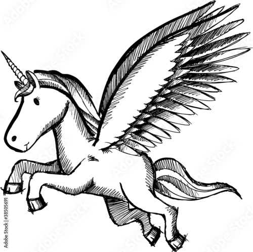 Sketch Doodle Unicorn Pegasus Vector Illustration