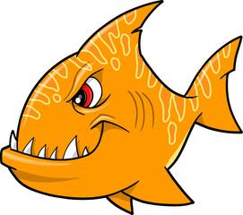 Mean Orange Shark Vector Illustration