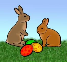 Kaninchen mit Ostereiern farbig