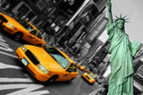 Fototapety new york city, times square, taxi focus motion blur
