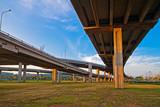 Intersecting lines of Bangkok freeway. poster