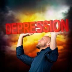 Mann wird von Depression erdrückt
