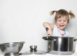young cute girl cooking