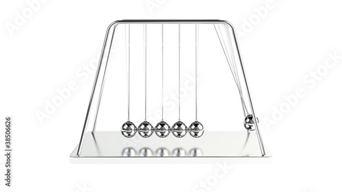3d animation of newton's cradle with alpha channel appended
