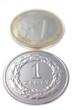 Złotówka euro na białym tle