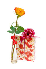 rose and a gift on white background