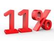 3d Schrift 11% rot
