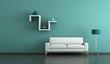 Wohndesign - weisses Sofa mit Regal